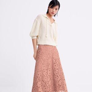 ZARA A-Line Lace Midi Skirt